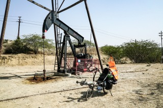 Oil well with horse head, Myanmar.