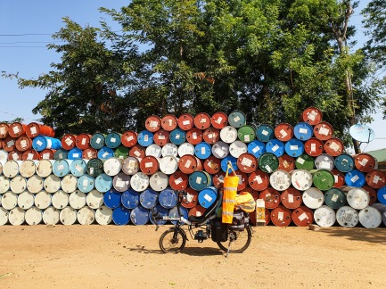 Oil barrels, Myanmar.