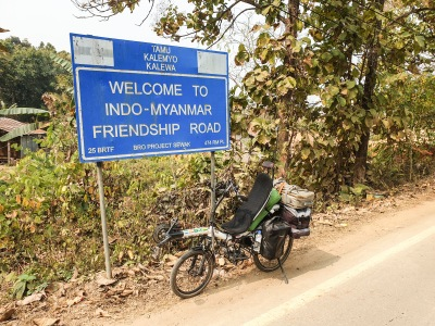 Arriving at Tamu checkpoint, Myanmar.