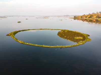 Loktak lake, famous for its circular floating islands, NorthEast India