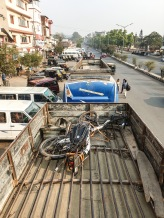 Carrying the bicycle on the roof, Imphal, India.