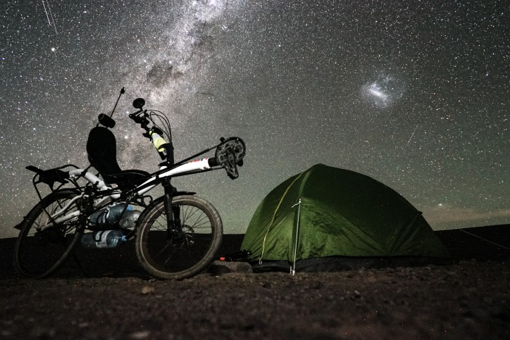 Wild camping under the milky way, Atacama desert, Chile.