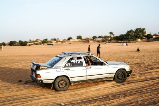 The Mercedes is very popular, and surprisingly very agile in sand. Chinguetti, Mauritania.