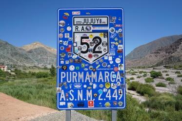 Arriving in Purmamarca, Argentina.